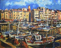 harbour with fishing boats by gerhard batha