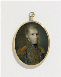a young general or marshal, in blue uniform with gold laurel embroidery and buttons, gold epaulettes and aiguillettes, black stock, white linen shirt with stand-collar by ferdinand machera