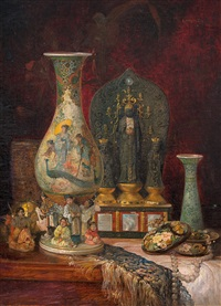 still life with chinese objects by ludwig augustin