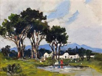figures in a landscape beside a cottage by nita spilhaus