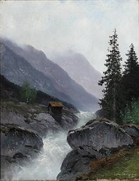 mountain landscape with a river by ludvig skramstad