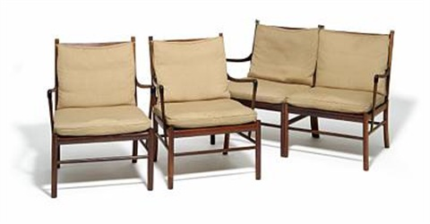 Enjoyable Colonial Sofa And Two Easy Chairs By Ole Wanscher On Artnet Ibusinesslaw Wood Chair Design Ideas Ibusinesslaworg