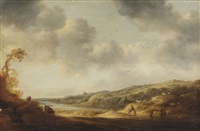 a river landscape with travellers on a path by françois van knibbergen
