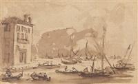 konvolut von dreizehn skizzenblättern: veduten aus venedig, architekturcapricci, figurenstudien by francesco guardi
