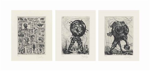 linesorabile avanzata set of 5 by william kentridge