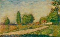 au bord du village by georges seurat