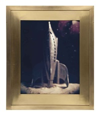 1988 pc s 2 (grey spaceship) (+ two spacemen jumping, photograph; 2 works) by david levinthal