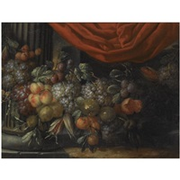 a garland of blue and white grapes, peaches, oranges, lemons and prunes, figs, corn and chestnuts, in a landscape near a classical column by jan pauwel gillemans the younger