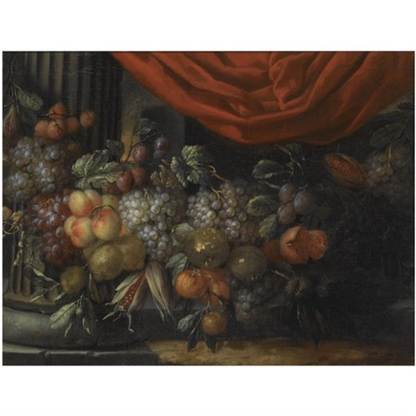 a garland of blue and white grapes peaches oranges lemons and prunes figs corn and chestnuts in a landscape near a classical column by jan pauwel gillemans the younger