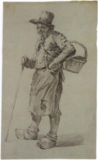 study of a standing peasant with basket, clogs and walking stick by hermanus van brussel