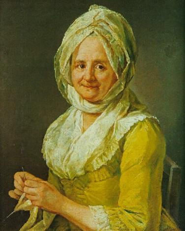 portrait de femme brodant by guillaume françois colson