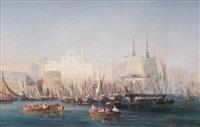 bateaux dans le port de constantinople by barthélemy lauvergne