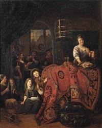 an interior with a woman serving meat and wine, children playing on the floor, and figures playing cards in the adjacent room by richard brakenburg