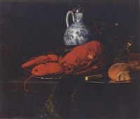 a lobster, a bun and a knife on a pewter plate, a roemer and other things on a draped ledge by simon luttichuys