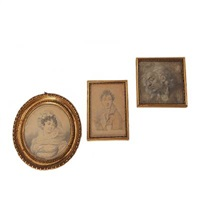 portrait of a young woman (+ 2 others; 3 works) by louis ami arlaud-jurine