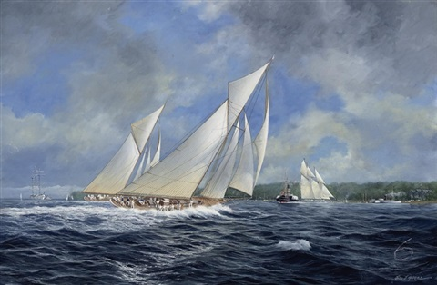 """""""cicely,"""" """"paula"""" and """"white heather"""" heading to windward off cowes by john j. holmes"""