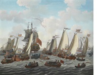 the dutch fleet at anchor by abraham jansz storck