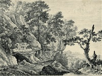 büßende heilige in landschaften (set of 5) (+ der eseltreiber; 6 works) by herman van swanevelt