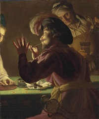 a cavalier lighting a pipe from a candle, an old woman pouring from a crock and a young woman cutting tobacco - a fragment by gerrit van honthorst