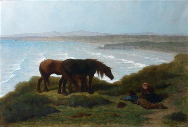 chevaux bretons sur les falaises de ris par temps de brise péninsule de douarnenez by théodore valerio