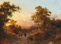romantic landscape with the road to emmaus by carlo marko