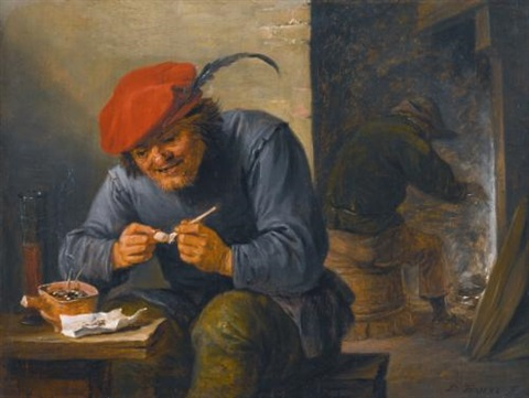 a peasant smoking at an inn table by david teniers the younger