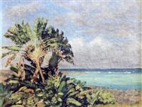 palmiers au bord de la mer by paul-léon bleger
