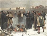 luther uppbränner den påfliga bullan på torget i wittenberg år 1520 by karl aspelin