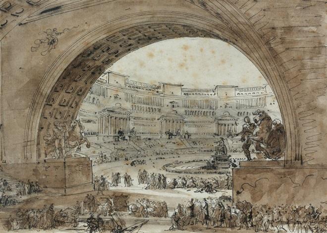 concours artistique dans un théâtre antique by louis jean desprez