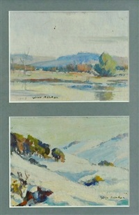 snowy mountains landscapes (2 works) by john william (sir) ashton
