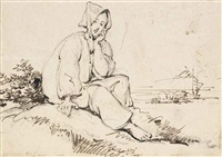 studies of tanka boatwomen (2 works) by george chinnery