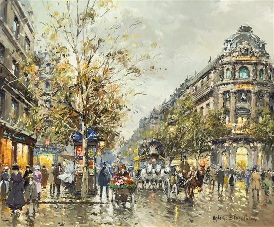grands boulevards et theatre du vaudeville by antoine blanchard