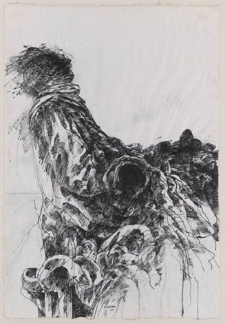 two drawings (2 works) by sidney goodman
