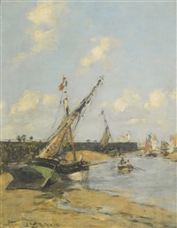 louis trouville. la jetée marée basse by eugène boudin