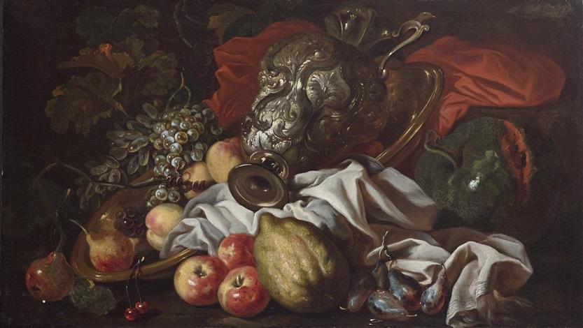 pfirsiche melonen trauben und eine silberne karaffe by french school 17