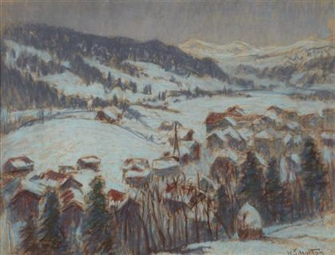 winter landscape gstaadt by william samuel horton