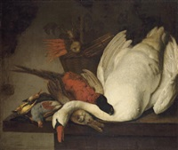a dead swan, pheasant, rabbit, grouse, finches and a basket of carrots and onions on a stone table by elias vonck