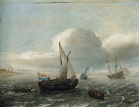 a fishing boat and other dutch vessels under sail off the coast by hans (johan) goderis