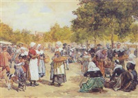 a breton marketscene by lucien alphonse gros