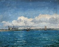 sailing ships out shore kronborg castle by carl ludvig thilson locher