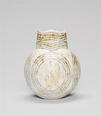 globular pot with square neck by john ward