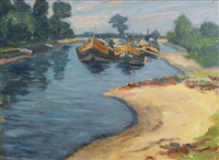 ziegelsee and river with barges (pair) by maria weber