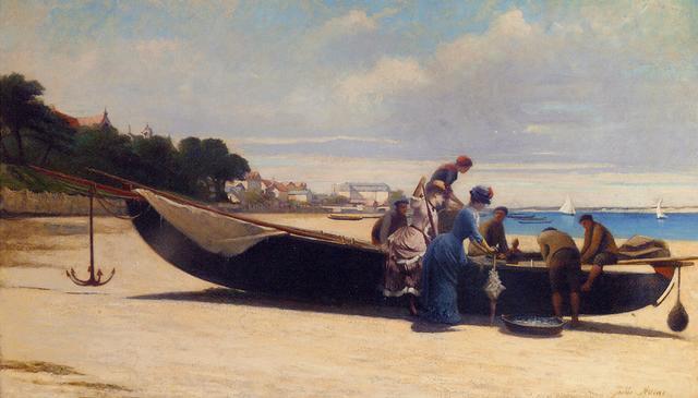 élégantes à larrivée des pêcheurs dans la baie arcachon by jules charles aviat