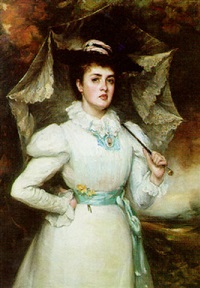 portrait of a lady with a parasol by peter alexander hay