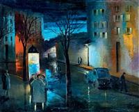 street in paris by night by marguerite de corini