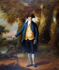 portrait of a gentleman standing in a landscape by thomas gainsborough
