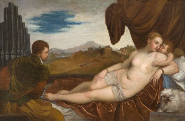 vénus à l'organiste by titian (tiziano vecelli)