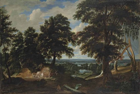 an extensive wooded landscape with the conversion on saint hubert in the foreground by jacques d arthois