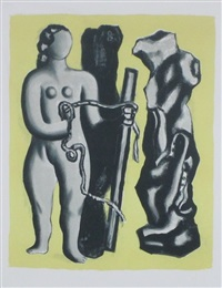 untitled figures on yellow background by fernand léger