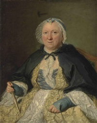 portrait of madame antoine crozat, marquise du châtel, née marguerite le gendre d'armeny (1670-1742), half-length, seated, in a lace trimmed yellow and white dress and a bonnet, a fan in her right hand by jacques andré joseph aved